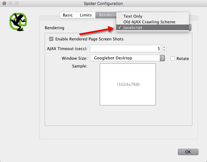 screamingfrog configuration javascript enabled